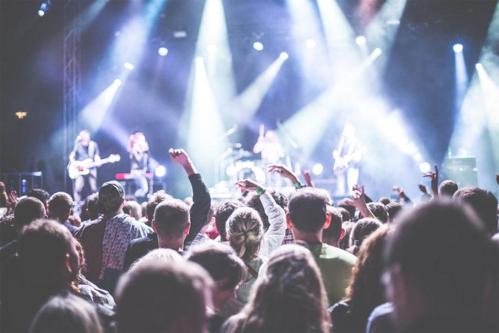 Auf diesem Bild sieht man ein großes Publikum bei einem Konzert.